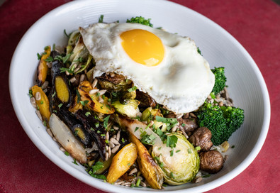 Roasted Vege Bowl with fried Egg Vegetarian