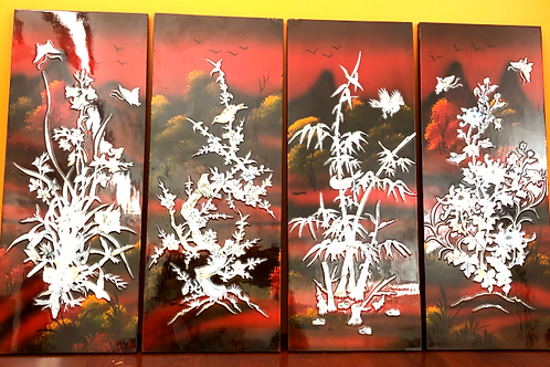 China Lacquer  red wall panels