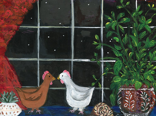 Chickens in the Night (print)