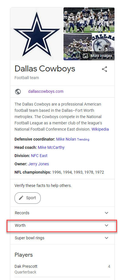 Dallas Cowboys Desktop Knowledge Panel