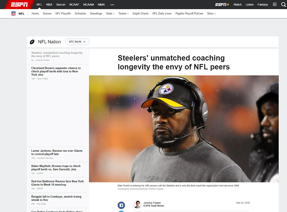 ESPN Article on Steelers Coaching Turnover