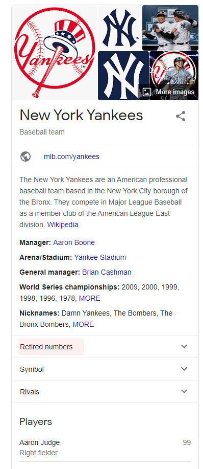 New York Yankees Desktop Knowledge Panel