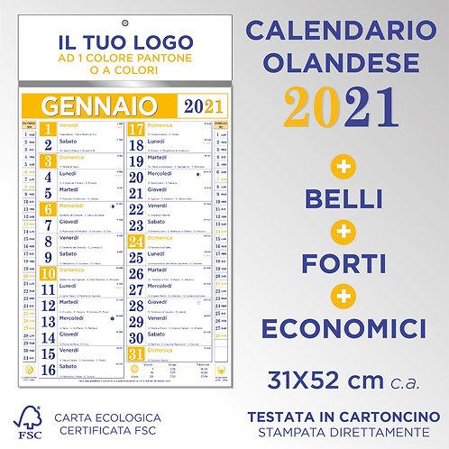 Calendario olandese 2021 colore giallo e blu