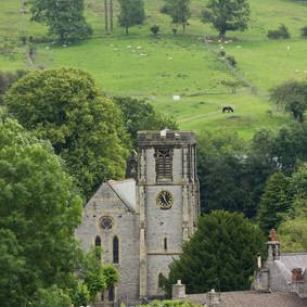Looking down to the church