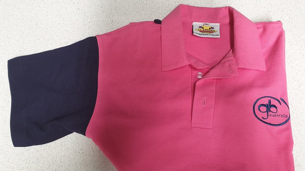 Pink / Navy Girls Polo