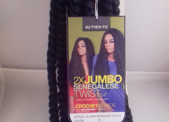 """2×JUMBO SENEGALESE TWIST 24"""" Crochet Braid"""