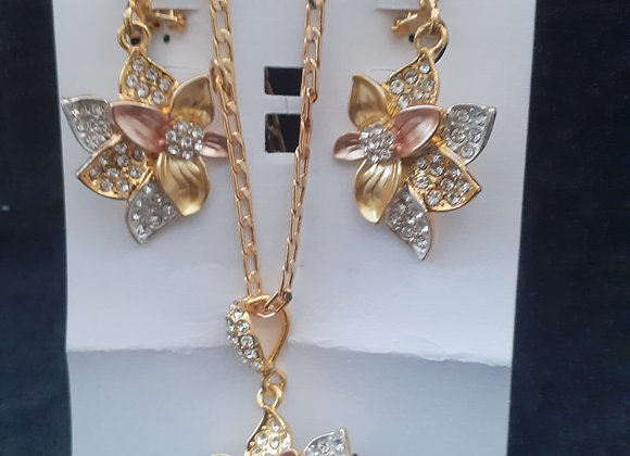 Gold plated ladies jewellery set