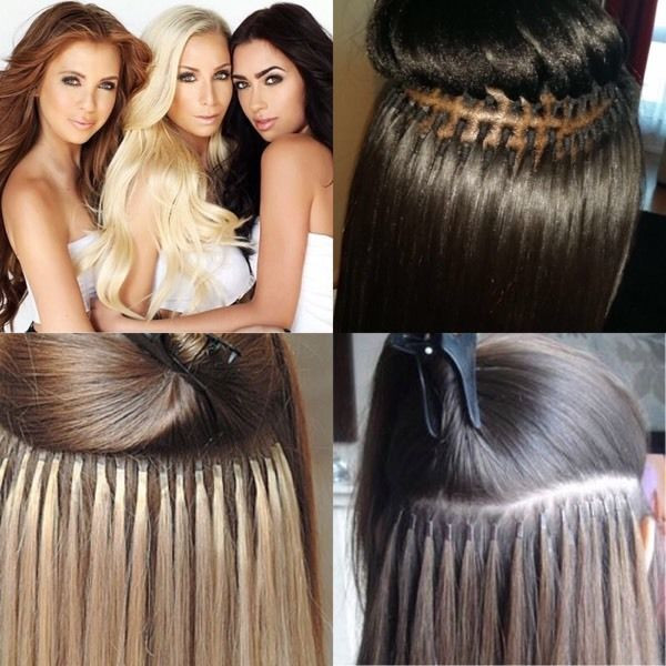 Micro ring hair extensions.
