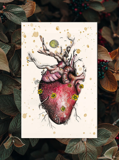 Floral Heart Folded Greeting Card