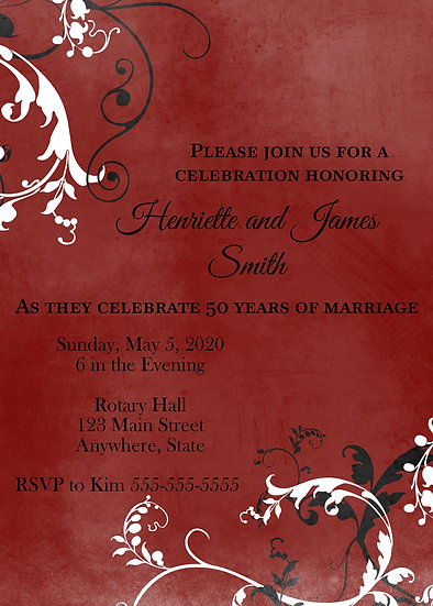 Red Flourish Anniversary Invitation
