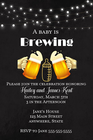 Baby Brewing Baby Shower Invite
