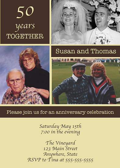 Brown and Tan 3 Photo Anniversary Invitation