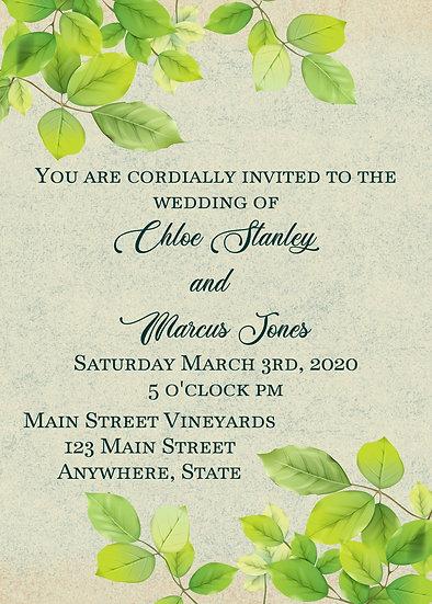 Leafy Border Wedding Invitation