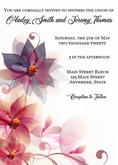 Pink and Purple Flower Corner Wedding Invitation