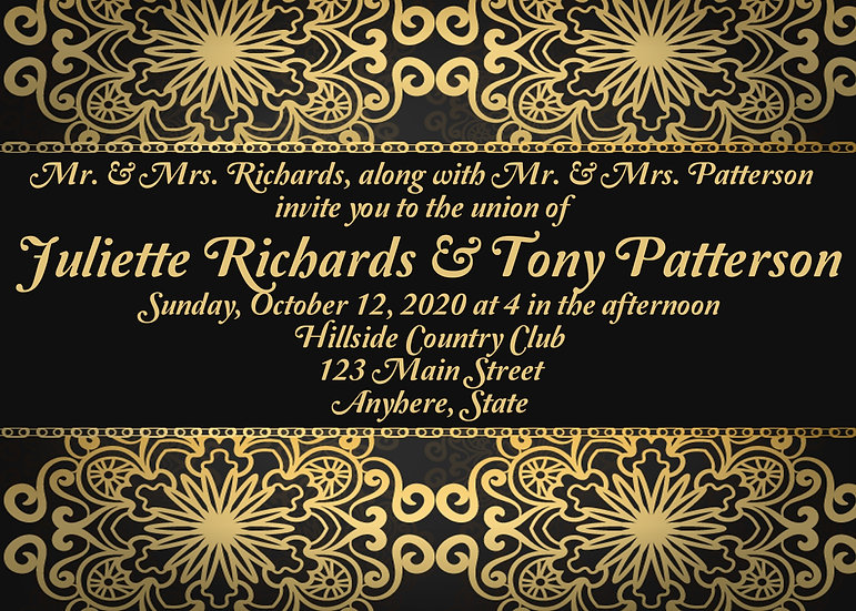 Gold and Black Invitation Package