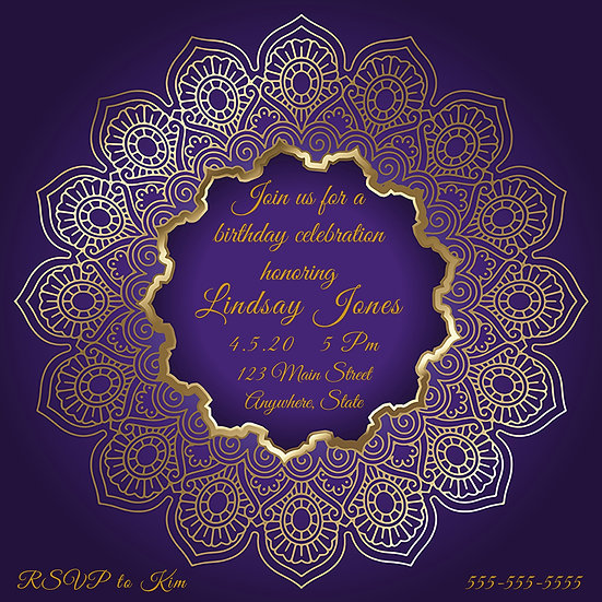 Purple and Gold Birthday