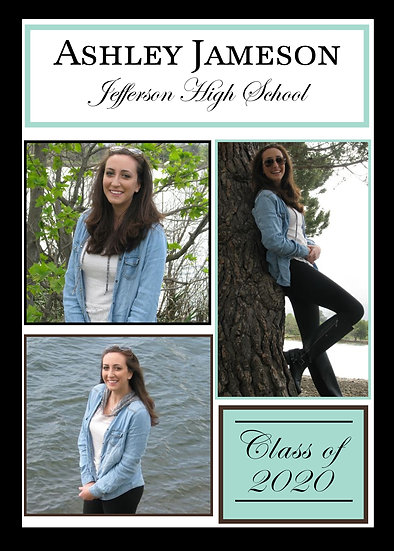 Teal, Black, Brown, and White Graduation Announcement