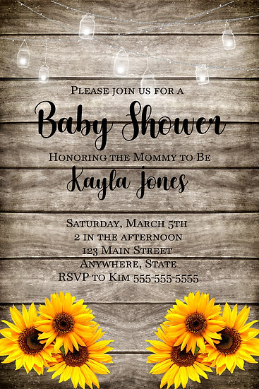 Wood and Sunflower Baby Shower Invite
