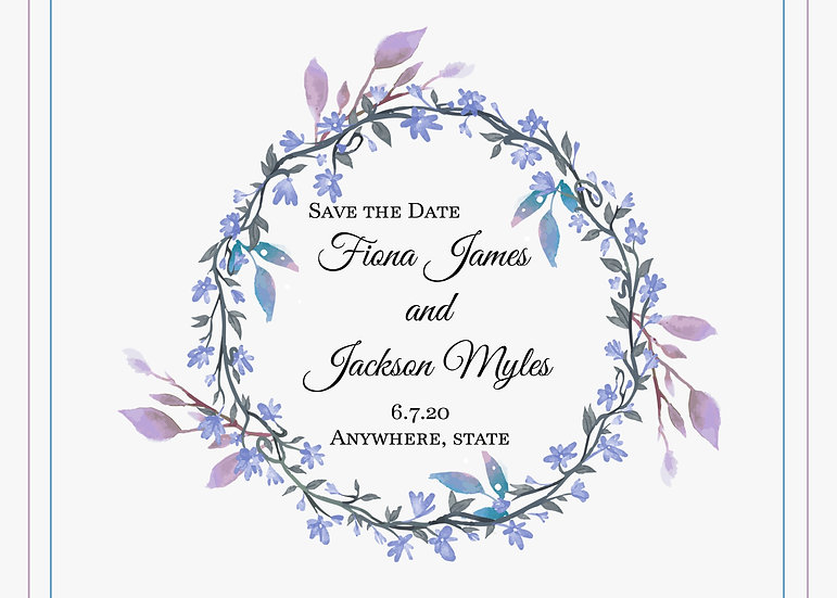 Purple Floral Frame Save the Date