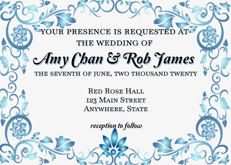 Blue Floral Border Wedding Invitation