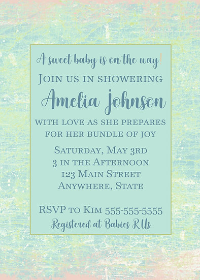 Pastel Marble Baby Shower Invitation