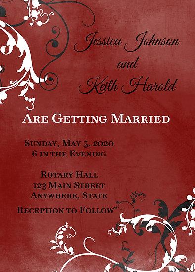 Red and Black Flourish Wedding Invitation