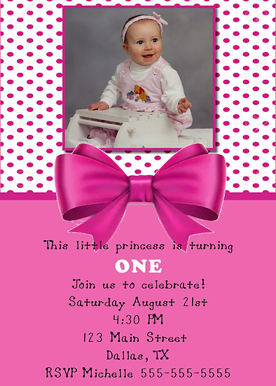 Pink Bow First Birthday Invitation