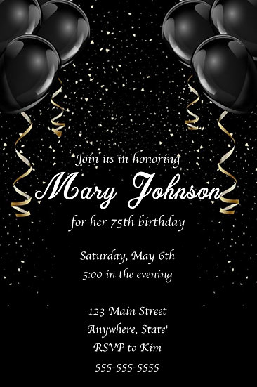 Black Balloon Birthday Invitation