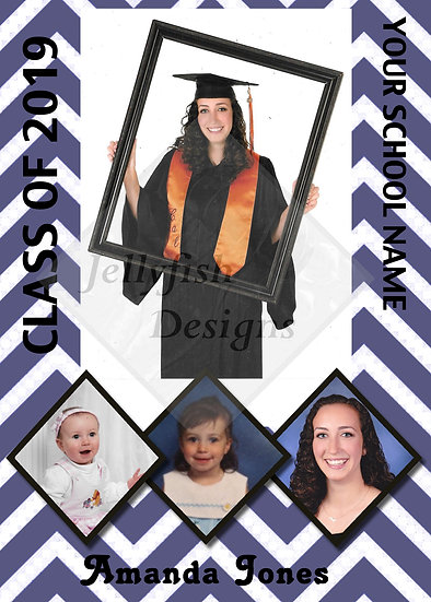 4 Photo Zig Zag Graduation Announcement