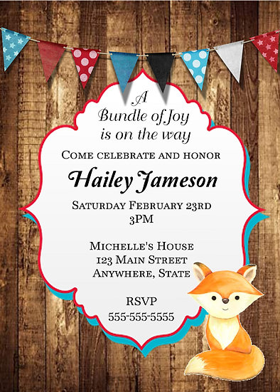 Red, White, and Blue Baby Fox Baby Shower Invitation