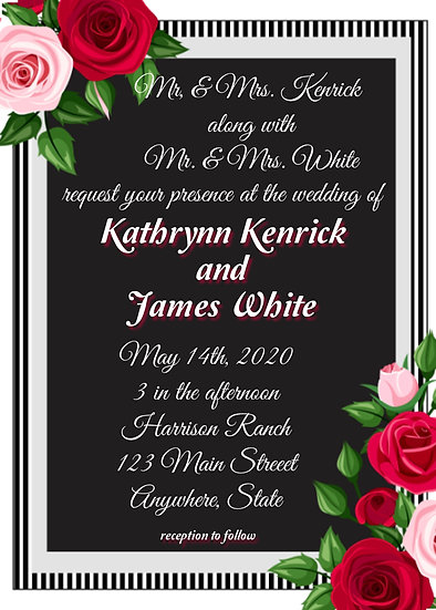 Pink and Red Rose Wedding Invitation