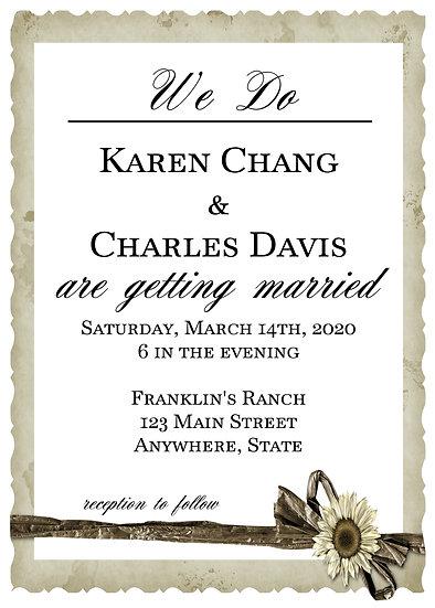 Sunflower Bow Wedding Invitation