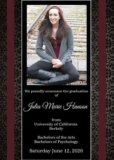 Victorian Background Graduation Announcement