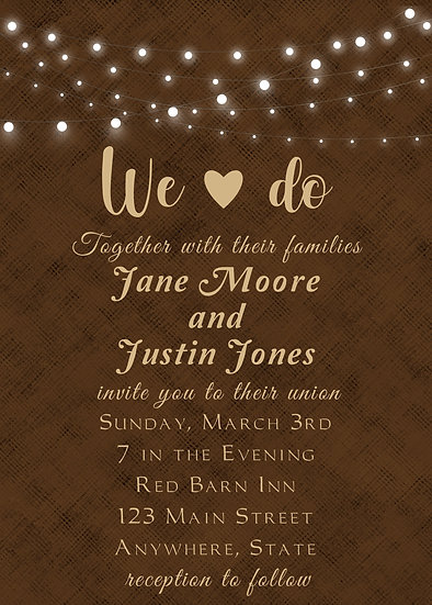 Brown and Lights Wedding Invitation
