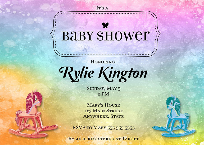 Rainbow Rocking Horse Baby Shower