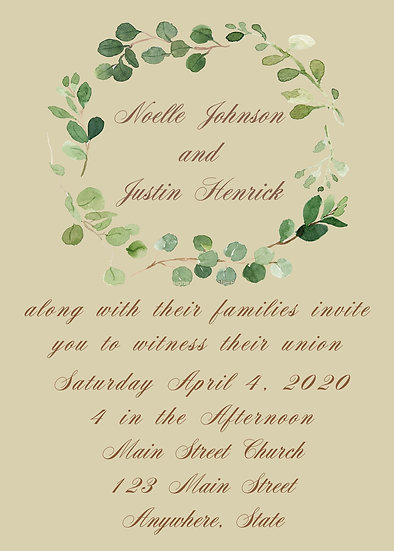 Leaf Wreath Wedding Invitation