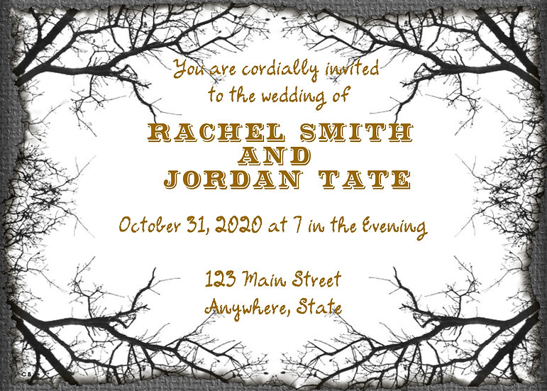 Spooky Branch Halloween Wedding Invitation