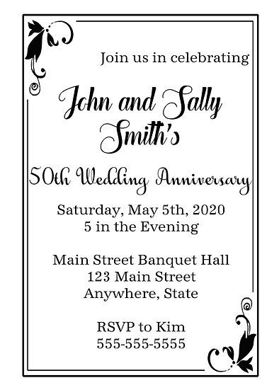 Black Elegant Border Anniversary Invitation