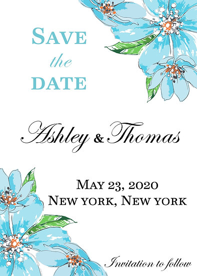 Blue Watercolor Flower Save the Date