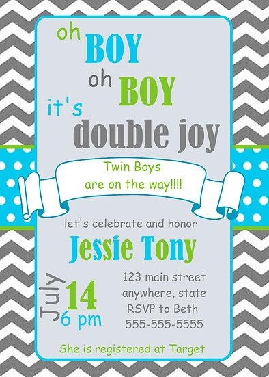 Double Joy Twin Baby Shower Invitation