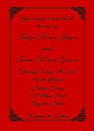 Red and Black Border Elegant Wedding Invitation