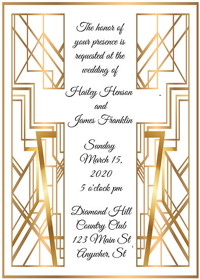 Gold Deco Wedding Invitation