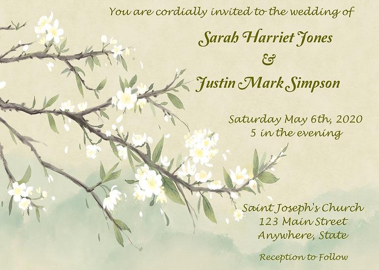 Watercolor Flowered Tree Wedding Invitation