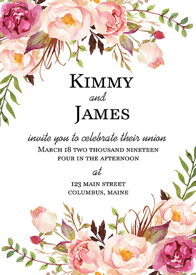 Flower Corners Wedding Invitation