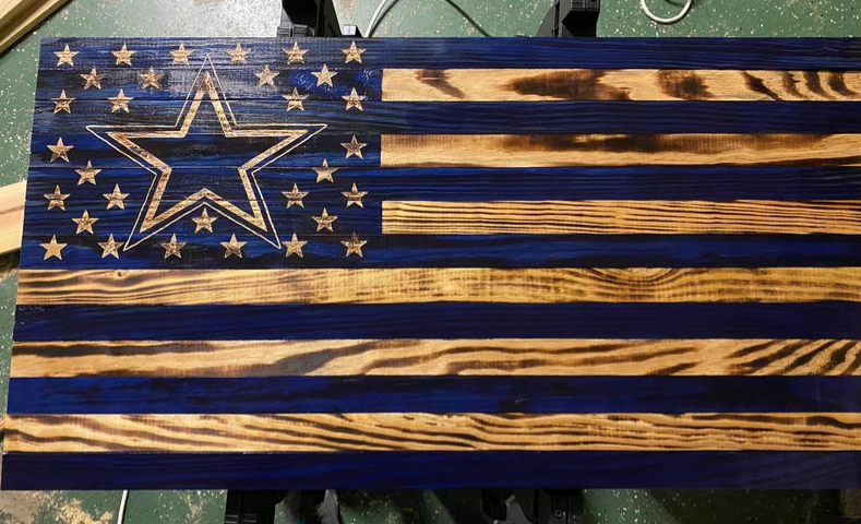 Cowboys Rustic American Flag (large)