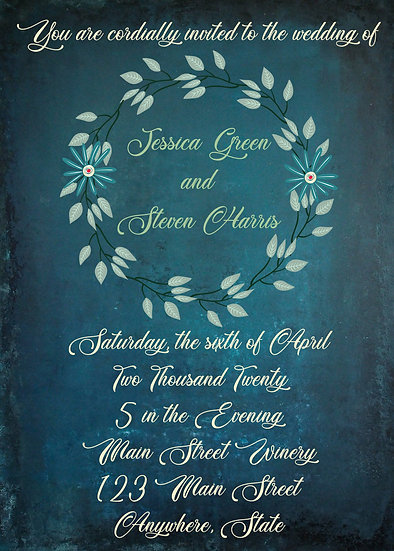 Teal Flower Wreath Wedding Invitation