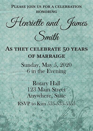 Teal Flourish Anniversary Invitation