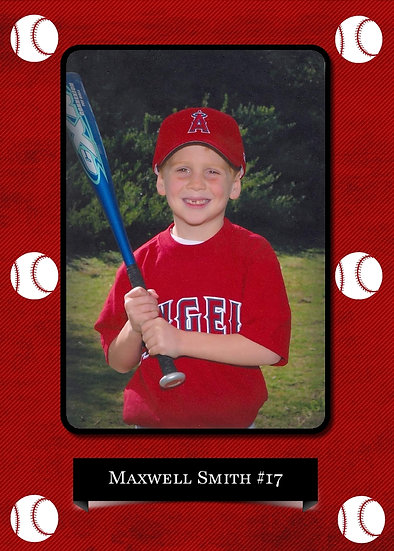 Red and Black Baseball Sport Card