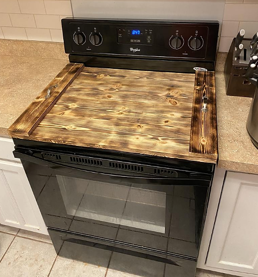Stained Wood Stove Top Cover
