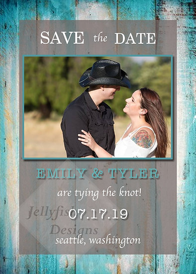 Teal Rustic Save the Date